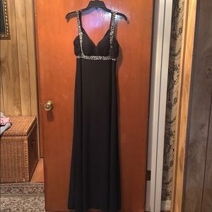 Beautiful long black prom dress with gem straps